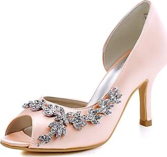 Elegantpark HP1542 Wedding Heels for Women Peep Toe Bridal Shoes High Heels Satin DOrsay Rhinestone Evening Party Shoes Court Shoes Blush UK 8