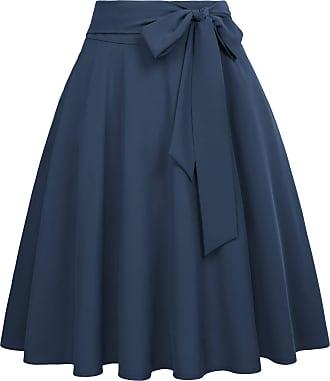 Belle Poque 60s Vintage Ladies Girls High Waist Swing Hem Wiggle Skirts Knee Length Dark Blue(561-12) XX-Large