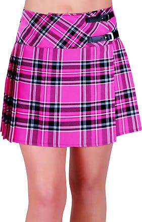Eyecatch Kyla Ladies Tartan Buckle Womens Billie Kilt Mini Skirt Pink Size 12