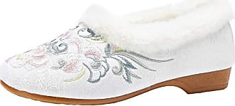 ICEGREY Womens Faux Fur Lined Chinese Embroidered Shoes Winter Slip On Loafer White-1 5.5