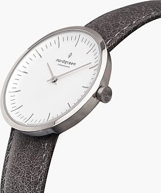 Nordgreen Infinity - Silver | Patina Grey Leather - 40mm / Silver