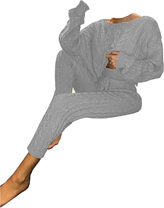 21Fashion Womens Cable Knitted Baggy Casual Tracksuit Set Ladies Loungewear Legging Suit Stone UK 8-10