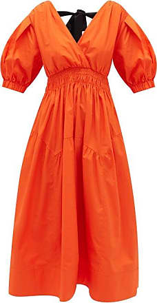Self Portrait Self-portrait - Tie-back Tiered V-neck Cotton Midi Dress - Womens - Orange