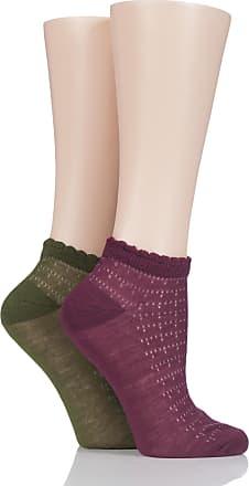 SockShop Ladies 2 Pair SockShop Fashion Collection Delicate Scallop Top Socks - Red/Green 4-8
