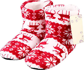 Not Applicable Clothing Winter Boots Slippers Christmas Coral Fleece Reindeer Print Non-Slip Sole Boots Slippers Hi-Top Slippers Home Indoor Shoes Gift for Men Women Red