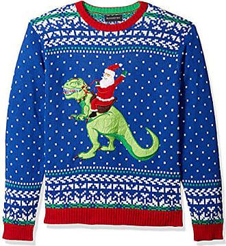 Blizzard Bay Mens Santa Riding T-Rex Ugly Christmas Sweater, X-Large