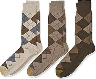 Gold Toe Big and Tall Mens 3-Pack Carlyle Argyle Crew Sock, Taupe Mix, Shoe Size: 12-16