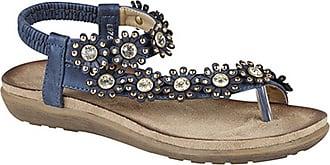 Boulevard Womens/Ladies Toe Post Flower Design Sling Back Sandals (6 UK) (Blue)