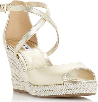 Dune London Dune Ladies Womens Kimchi Cross Strap Espadrille Wedge Sandals Size UK 4 Gold Wedge Heel Wedges