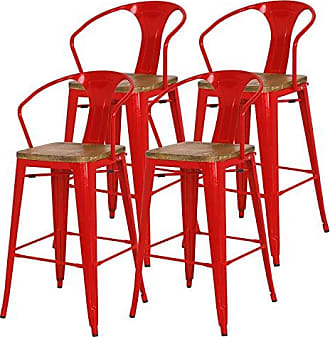 New Pacific Direct Metropolis Metal Bar Stool 30 Wood Seat,Indoor/Outdoor Ready,Red,Set of 4