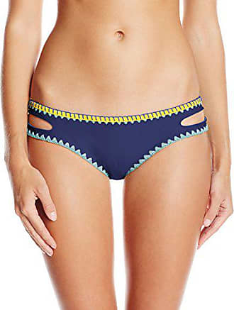 764215c14a Jessica Simpson Womens Woodstock Whipstitch Reversible Split-Side Hipster  Swimsuit Bikini Bottom, Marine,