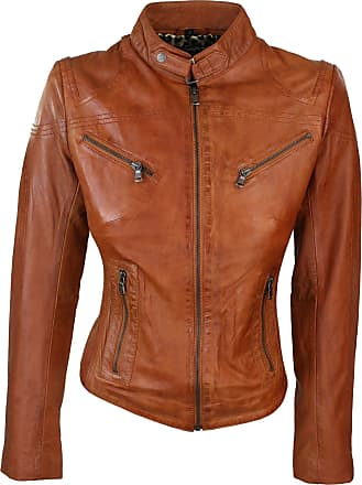 Infinity Ladies Real Leather Tan Biker Style Fashion Jacket Size UK 6-20