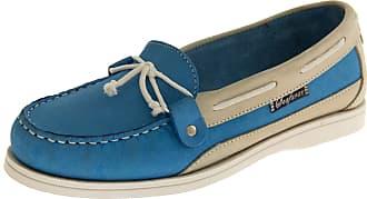 Footwear Studio Ladies Seafarer Yachtsman Nubuck Leather Boat Deck Shoes Bright Blue/Ice UK5