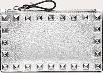 Valentino Garavani Valentino Garavani Metallic Rockstud Card Case Women Silver Calfskin 100% OneSize
