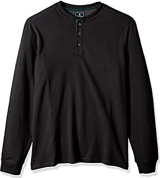 G.H. Bass & Co. Mens Big and Tall Carbon Long Sleeve Jersey Henley Shirt, Black Heather, Large