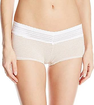Warner's Womens No Pinching No Problems Cotton Lace Boyshort Panty, Nude Stripe, 5/Small