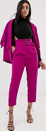Stradivarius paperbag trousers in pink