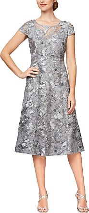 Alex Evenings Black Silver Metallic Soutache Portrait Collar Fit /& Flare Dress