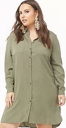 Forever 21 Plus Forever 21 Plus Size Dolphin Hem Shirt Dress Olive