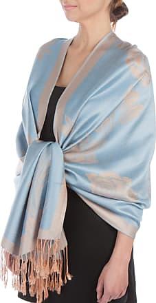 Sakkas Lightweight Two Tone Rose Floral Design Pashmina Feel Fringe Scarf/Stole/Wrap, 28x70, Powder Blue / Beige