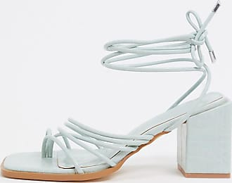Z_Code_Z Exclusive Vitta vegan strappy heeled sandals in mint croc-Green