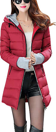 ZongSen Womens Long Down Coat Hooded Ultralight Packable Jacket Warm Coats Outwear Wine Red XL