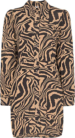 Ganni zebra-print mini shirt dress - Brown