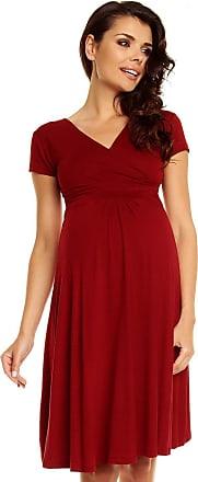 Zeta Ville Womens Maternity Wrap V-Neck Summer Dress - Short Sleeves - 108c (Crimson, UK 16, 2XL)