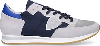 Philippe Model Low-Top Sneakers TROPEZ suede textile Logo Patch blue-combo