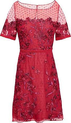 db4ae405 Marchesa Marchesa Notte Woman Embroidered Flocked Tulle Mini Dress Crimson  Size 12