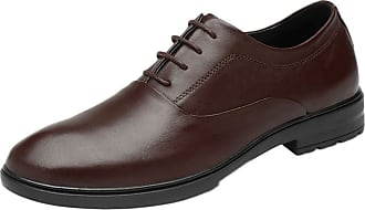 ICEGREY Mens Pointed Leather Shoes Breathable Leather Business Casual Shoes Brown-Lacing,7.5