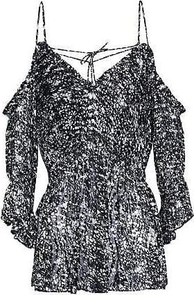 Iro Iro Woman Eldan Cold-shoulder Printed Devoré-chiffon Top Black Size 34