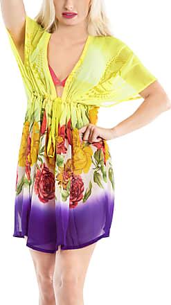La Leela Womens Bikini Tunic Cover Up Ladies V-Neck Drawstring Loose Beachwear Swimwear Short Sleeves Beach Dress Sexy Cardigans Summer Dress for Women Yellow_