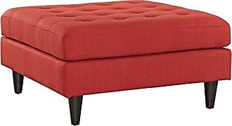 ModWay Modway EEI-2139-ATO Empress Mid-Century Modern Upholstered Fabric Ottoman, Large, Atomic Red Orange