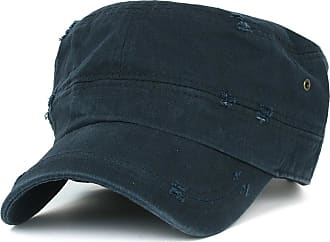 Ililily Distressed Cotton Cadet Cap with Adjustable Strap Army Style Hat (cadet-527-5) (Navy) (One Size)