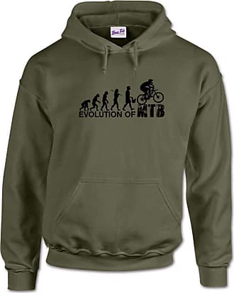 Bang Tidy Clothing The Evolution of Mountain Biking MTB Mens Hoodie-Military Green-XL