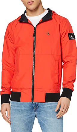 Calvin Klein Jeans Mens Hooded Blocking Nylon Jacket Bomber, Red (Fiery Red/Ck Black Xa7), Large (Size:L)