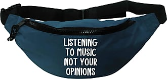 Flox Creative Recycled Polyester Blue Bumbag Listening to Music Not Your Opinions T-Shirt