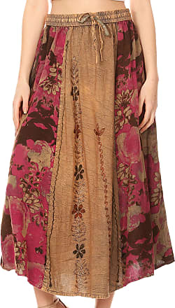 Sakkas 1827 - Maran Womens Boho Embroidery Skirt with Lace Elastic Waist and Pockets - Beige - OSP
