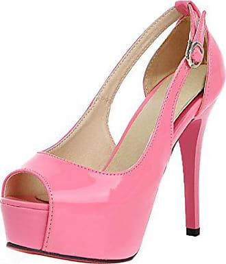 7730a175d5ad66 UH Damen Elegant Peep Toe High Heels Stiletto Plateau Lack Pumps mit Roter  Sohle 12cm Absatz