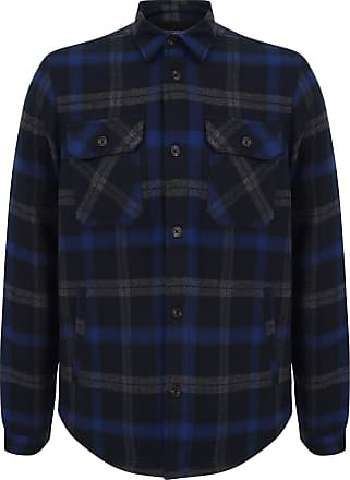 Tokyo Laundry Mens Herrick Checked Warm Fleece Lined Overshirt Jacket - Blue Depths - L