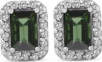 Pompeii3 1 3/8ct Emerald Shape Green Tourmaline Pave Halo Diamond Studs 14K White Gold