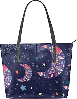 NaiiaN for Women Girls Ladies Student Home Handbags Tote Bag Shoulder Bags Leather Moon Star Pattern Navy Night Purse Shopping Light Weight Strap
