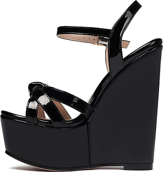 EDEFS Womens Wedge Heel Sandals,Open Toe Ankle Strap Sandals with Knot Black EU43