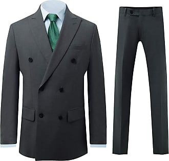 Dobell Mens Grey Sharkskin 2 Piece Suit Regular Fit Double Breasted Peak Lapel (40R Jacket with 34R Trousers)