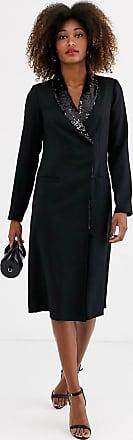Unique21 Unique21 long sleeve sequin lapel tailored blazer dress-Black