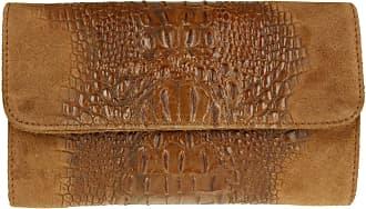 Girly HandBags Girly HandBags Croc Suede Clutch Bag Italian Leather - Dark Brown