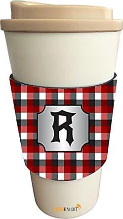 Rikki Knight LetterR Initial Burgundy Black Grey Plaid Monogrammed Design Latte Beverage Insulator, Black
