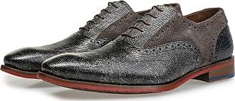 Floris Van Bommel Grauer Premium Kalbsleder-Schnürschuh, Business Schuhe, Designer Schuh, Handgefertigt