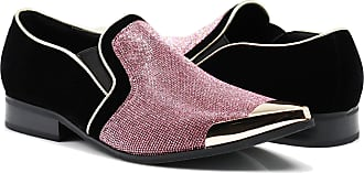 Enzo Jeans Romeo Crisiano Men Rhinestone Chrome Toe Suede Pointy Dress Loafer Slip On Shoes Pink Size: 5.5 UK